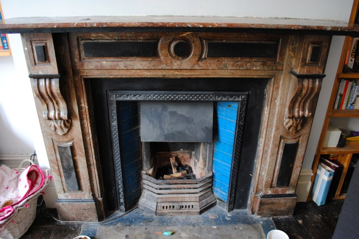 Antique fireplace in our current flat